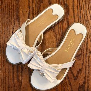 Sesto Meucci White Bow Sandals, Size 6